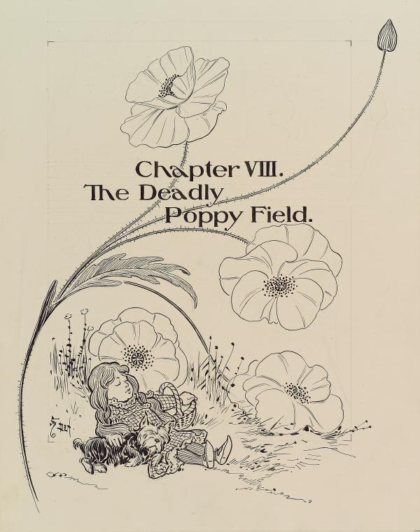 Chapter VIII where the deadly poppy field features. Poppies where used as emblems on tombstones to symbolize eternal sleep which inspired the deadly poppy field idea