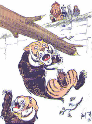 Image of the tin man chopping the tree away from the cliff resulting in the Kalidahs falling to their deaths