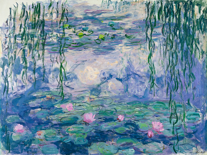 Blue water, green lillies and pink flowers