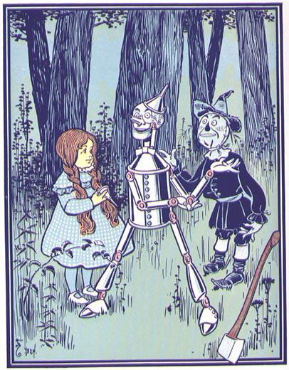 Image of Dorothy oiling the tin man while the scarecrow helps loosen his joints by moving them from him getting caught in the rain and rusting while chopping wood